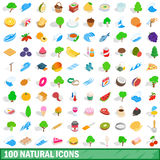 100 natural icons set, isometric 3d style Stock Images