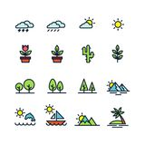 Natural icons set, nature elements on white background vector illustration