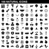 100 natural icons set, simple style Royalty Free Stock Photos