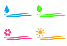 Natural icons with water drop, sun, flower and lea Royalty Free Stock Images