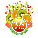 100 % Natural Fruits sticker lable. This image is made in adobe Photoshop Royalty Free Stock Photo