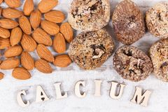 Natural ingredients as source calcium, vitamins, minerals and fiber stock images