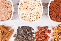 Natural ingredients as source copper, minerals and dietary fiber. Natural ingredients or products as source copper, minerals and dietary fiber, healthy nutrition stock photo