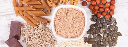 Natural ingredients as source copper, minerals and dietary fiber. Natural ingredients or products as source copper, minerals and dietary fiber, healthy nutrition stock photography