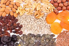 Natural ingredients as source iron, vitamins, minerals and dietary fiber royalty free stock photography