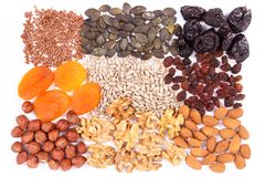 Natural ingredients as source iron, vitamins, minerals and dietary fiber stock photos