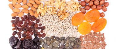 Natural ingredients as source iron, vitamins, minerals and dietary fiber. Natural ingredients or products as source iron, vitamins, minerals and dietary fiber stock photo