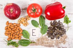 Natural ingredients as source vitamin E, minerals and dietary fiber. Natural ingredients or products as source vitamin E, minerals and dietary fiber, healthy royalty free stock photos