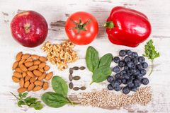 Natural ingredients as source vitamin E, minerals and dietary fiber. Natural ingredients or products as source vitamin E, minerals and dietary fiber, healthy royalty free stock photography