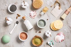 Natural ingredients for care cosmetics, organic body care products. Top view royalty free stock photo