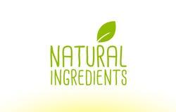 natural ingredients green leaf text concept logo icon design stock illustration