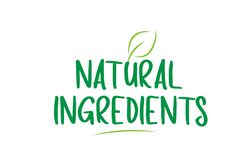 natural ingredients green word text with leaf icon logo design royalty free illustration