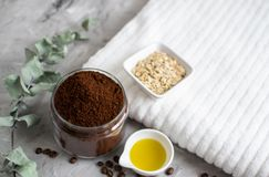 Natural Ingredients for Homemade Body Chocolate Coffee Oatmeal Sugar Scrub Oil Beauty SPA Concept. Body Care stock photography