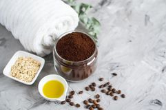 Natural Ingredients for Homemade Body Chocolate Coffee Oatmeal Sugar Scrub Oil Beauty SPA Concept. Body Care royalty free stock photography