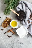 Natural Ingredients for Homemade Body Chocolate Coffee Sugar Salt Scrub Oil Beauty SPA Concept Body Care. Christmas Party New Year royalty free stock images