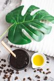 Natural Ingredients for Homemade Body Chocolate Coffee Sugar Salt Scrub Oil Beauty SPA Concept Body Care. Christmas Party New Year stock photos