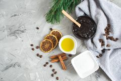Natural Ingredients for Homemade Body Chocolate Coffee Sugar Salt Scrub Oil Beauty SPA Concept Body Care. Christmas Party New Year stock image