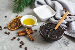 Natural Ingredients for Homemade Body Chocolate Coffee Sugar Salt Scrub Oil Beauty SPA Concept Body Care. Christmas Party New Year stock photo