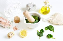Natural Ingredients for Homemade Body Face Mask Scrub Green Spinach stock photo