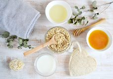 Natural Ingredients for Homemade Body Face Scrub stock photography