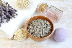 Natural Ingredients for Homemade Body Foot Face Lavender Salt Scrub. Oil Beauty Concept royalty free stock images