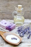 Natural Ingredients for Homemade Body Lavender Oil. Natural Ingredients for Homemade Body Lavender Salt Scrub Soap Oil Beauty Concept Royalty Free Stock Photography