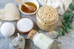 Natural Ingredients Homemade Body Oatmeal Sea Salt Scrub with Olive Oil Honey Milk. White Towel Beauty Concept Skincare Organic Aroma Spa Therapy stock photography