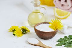 Natural ingredients for homemade body salt scrub with dandelion flowers, lemon, honey and olive oil. Natural ingredients for homemade body face hair salt scrub Stock Photos