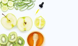 Natural ingredients for homemade skin care on white royalty free stock photos
