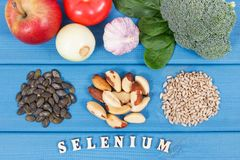 Natural ingredients as source selenium, vitamins, minerals and dietary fiber. Natural ingredients or products as source selenium, vitamins, minerals and dietary stock photos