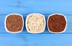 Natural ingredients and products containing magnesium and dietary fiber, healthy nutrition Royalty Free Stock Photos