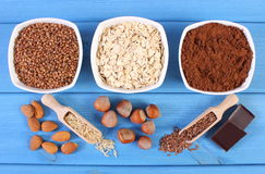 Natural ingredients and products containing magnesium and dietary fiber, healthy nutrition Stock Images