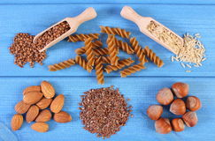 Natural ingredients and products containing magnesium and dietary fiber, healthy nutrition Royalty Free Stock Image
