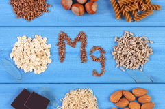 Natural ingredients and products containing magnesium and dietary fiber, healthy nutrition Royalty Free Stock Photography