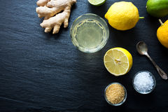 Natural isotonic drink lemonade with salt and ginger. Royalty Free Stock Image