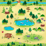 Natural items for games and app. Objects on yellow background are isolated. The scene can repeat endlessly on the sides stock illustration