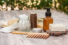 Natural items for a zero waste bathroom royalty free stock photography