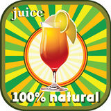 100% natural juice. Advertising label natural fresh juice Royalty Free Illustration