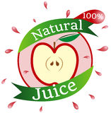 Natural Juice Sticker. Natural Fresh Juice 100% Percent Sticker, Apple, Fresh and Organic Royalty Free Stock Image