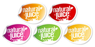 Natural juice stickers. Stock Photo