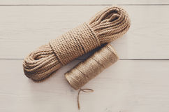 Natural Jute Twine Rope Roll for DIY and crafts Stock Images