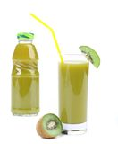 Natural kiwi juice in glass and bottle. Royalty Free Stock Photos