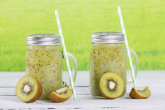 Natural kiwi juice Stock Photos