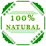 100% natural label. 100 percent natural guaranteed badge on white background stock illustration