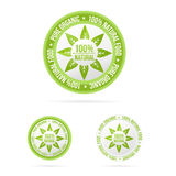 Natural label template. Vector green product Royalty Free Stock Images