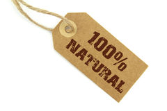 100% Natural Label. And  100% Natural  text on white background Royalty Free Stock Images