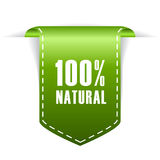 100 natural label. On white background Stock Image