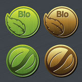 Natural labels with leaf - bio stickers Stock Photo