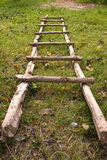 Natural Ladder. A ladder made of dry tree branches laying on grass Stock Photography