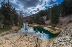 Natural lagoon Hidden place `la fuentona` stock photography